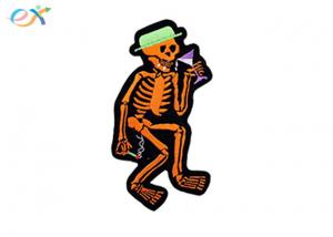 China Halloween Skull Iron On Embroidered Patches Sticker Backing Heat Cut For Gifts on sale