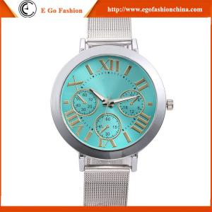 China GV12 3 Subdials Watch Quartz Analog Watch Full Stainless Steel Band Roman Numberals Watch on sale