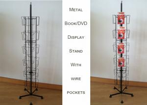 China Greating Card Spinner Metal Book Display Stand With 24 Iron Wire Pockets on sale