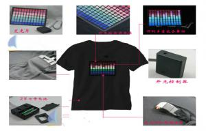 China Music Actived EL Equalizer Glowing Light T - Shirt Panel With DC6V Battery on sale