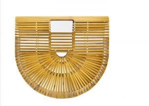 China Ins Popular Women Charcoal Rattan Bamboo Clutch Bag , Open Closure Bamboo Handbag on sale