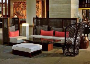 China Sofá de madera de la rota del marco del pasillo fijado para la madera durable de la teca del centro turístico isleño on sale