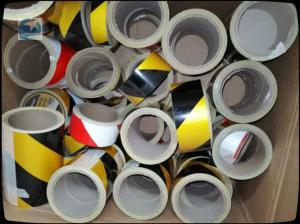 China High Visibility Reflective Safety Tape , Black And Yellow Hazard Warning Tape 45mm X 10m on sale