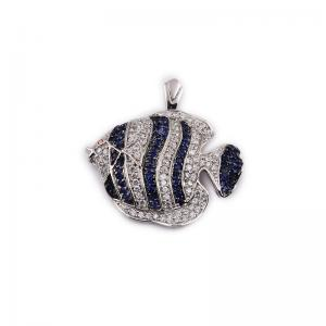 China 925 Sterling Silver Pendant with Zircon Stone, Diamond Animal Jewelry with Fish Shape on sale