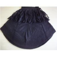 Customize  Round brushed acrylic black poncho shawl with front fringes