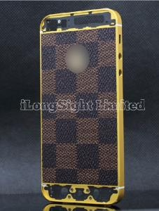 China L/V Checker Pattern Leather Skin With Gold Logo Back Cover Replacement For iPhone 5-Gold on sale