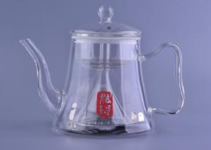 China Borosilicate Glass Tea Pot Kettle With Funnel Infuser Ion Sheet , Induction Cooker Safe on sale