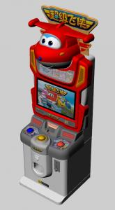 China Colorful Lighting Children Card Game Machine Super Wings Subject Easy Use on sale