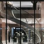 Curved Staircase / Modern Marble Staircase / Helical Staircase with Glass Railing