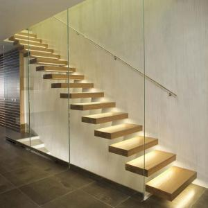China Wholesale decorative open riser timber floating stair / Glass barrier timber Staircase / Build Floating Staircase on sale