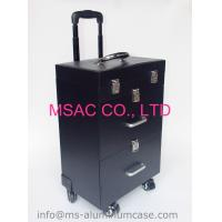 China Professional Makeup Cases On Wheels , Black Pu Leather Cosmetic Trolley Case on sale