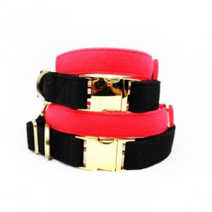 China Luxury Dog Collars And Leashes Velvet Cotton Material Red / Black Color on sale