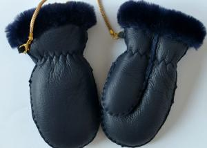 China Children's Shearling Sheepskin Mittens Genuine Lamb Sueded Gloves for baby on sale