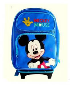 """China Disney Mickey Mouse Rolling Backpack With DETACHABLE Wheeled Trolley- 16"""" Large BLUE School Bookbag on sale"""
