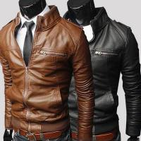 China Hot sale bulk plain polyester waterproof cheap european fashion winter men leather coat on sale