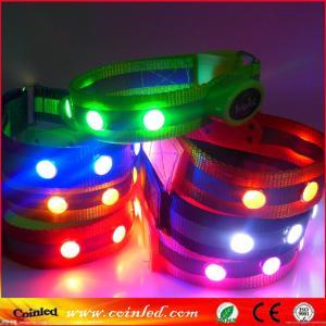 China velcro nylon reflective safety crystal stud flashing LED bracelet wristband on sale