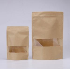 China Many size brown kraft packaging for snack food stand up zipper paper bag with window in stock on sale
