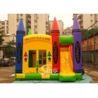 Hot commercial outdoor crayon inflatable bounce house with basketball ring N slide inside for kids parties