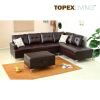 Sectional Sofa Leather Brown with Cushions,Stylish sofas with Chaise,Ottoman table with storage,Modern Sofa  Metal legs.