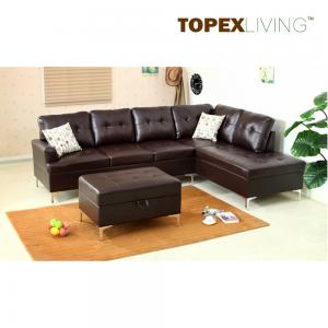 China Sectional Sofa Leather Brown with Cushions,Stylish sofas with Chaise,Ottoman table with storage,Modern Sofa  Metal legs. on sale