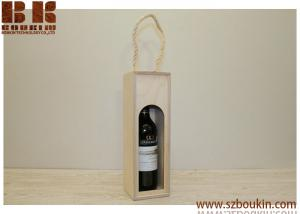 China HOT SALE Wooden Wine Bottle Box / Wine Displaying Box / Plywood wine  Box with sisal handle on sale