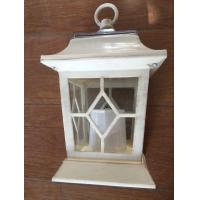 Yellow Flickering Outdoor Patio Solar LED Lantern / Patio Candle Lanterns