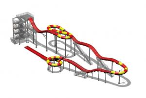 Quality 200m Fiberglass Water Slides , Water Roller Coaster Customized for Outdoor / for sale
