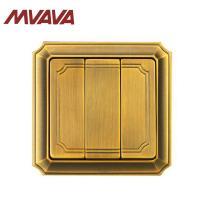 China MVAVA Luxury Bronzed Wall Switch 16A 110-250V Decorative 3 Gang Electrical Light Push Button light Switch on sale