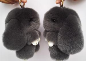 China Dark Grey Real Rabbit Fur Keychain Cute Plush Animal Shape For Garment on sale