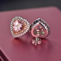 Best Designs Luxury Wedding Zircon Jewelry Cubic Zirconia Diamond Earrings Pink Heart Stud Bridal Earrings