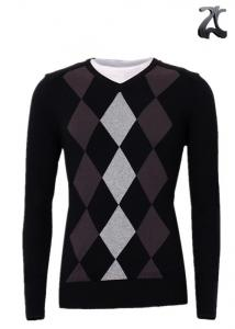 China Men's Knitted V Neck Pullover Sweater Long Sleeve With Insert Collar XXS - XXXL on sale