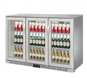 China 850mm Height 320L Three Stainless Steel Doors Back Bar Cooler Auto Defrost Type With Easy Cleaning Gasket on sale