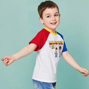 China O - Neck Cotton Children's Style Clothing Color Combination / Baby Boy T Shirt on sale