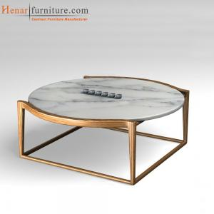 China Ash Wood Square Base Modern Dining Room Round Marble top Coffee Tables on sale