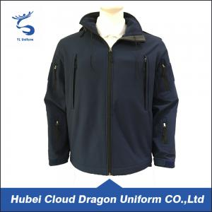 China 100% Polyester Navy Fleece Security Guard Jackets For Winter , Windproof on sale