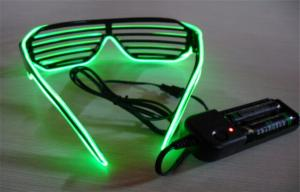 China Green Full Frame Lighting EL Wire Sunglasses With DC 3V 2AA Battery Inverter on sale