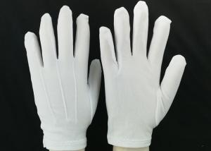 China Bleached White Lint Free Gloves 23g / Pair Weight 100D Yarn Good Moisture Absorbency on sale