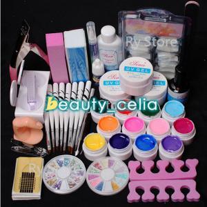 China 12 Color UV Gel Polish Nail Art Tips Glue Brush Manicure Tools DIY Kit Set on sale