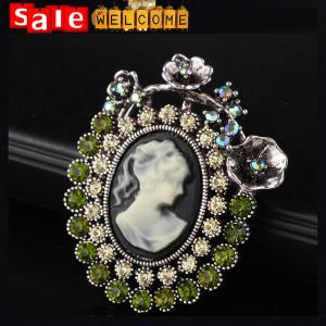 China Cameo Lady Head Emerald Crystal Brooch ,Antique Gold Silver Vintage Queen Brooch Pins on sale