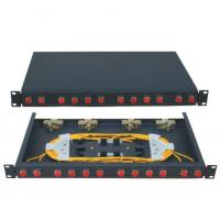 Fixed type Rack Mounted terminal box FC connector  12 ports  Fiber Optic Patch Panel 24 fiber black cold-rolling sheet
