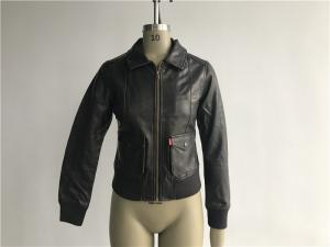 China Womens PVC Leather Biker Jacket Dark Brown Color Plastic Zip Through LEDO1715 on sale