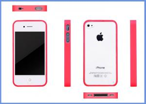 China Custom Transparent Mobile Phone Case With Silicone Middle Frame For iPhone 4 / 5 / 5S / 5C on sale
