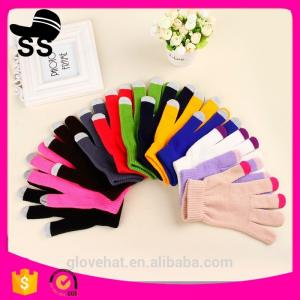 China 2017 Newest 90%Acrylic 5%Spandex 5%Conductive fiber Winter Knitting touch screen gloves 20*11.5cm 45g solid color on sale