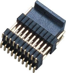 China PCB Board Male 1.27*2.54mm Pin Header Connector Dual Row Double Plastic SMT  PA9T  Brass H=2.54 on sale