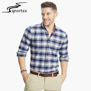 China Custom Plaid Cotton Mens Casual Dress Shirts Slim Fit Design OEM / ODM on sale
