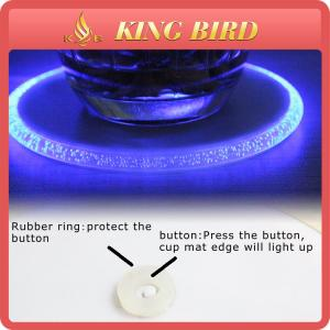 China Home Decoration Round LED Plastic Beer Glass Coaster For Bar on sale