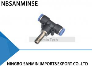 China PBJ T Type Pneumatic Connector Push In Tee Union Fitting For Air Pipe Hose Equal Plug Sanmin on sale