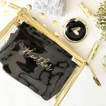 Personalized Clear See-Through Cosmetic Bags Transparent/Gold Travel Pack