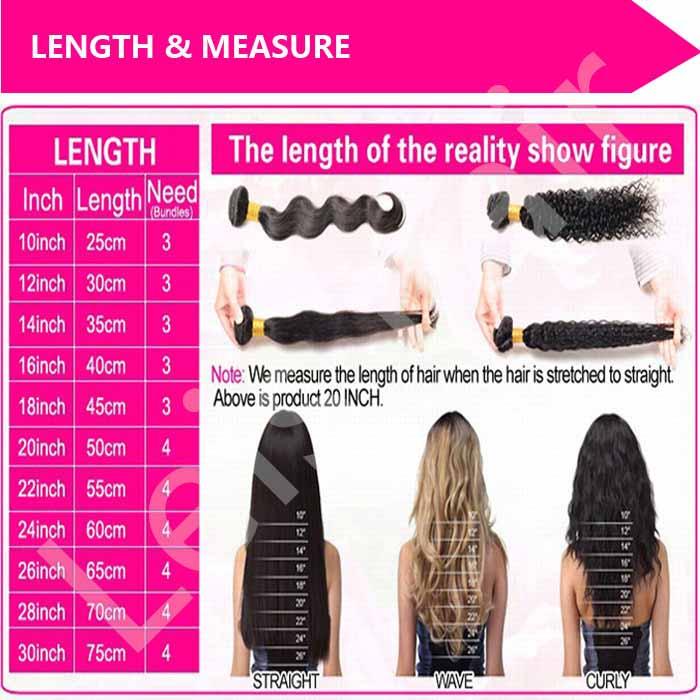 leis hair-human hair-length