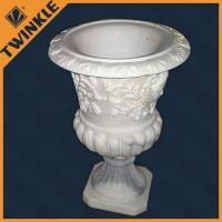 Natural corrosion resistance white marble stone flower pots surface polished